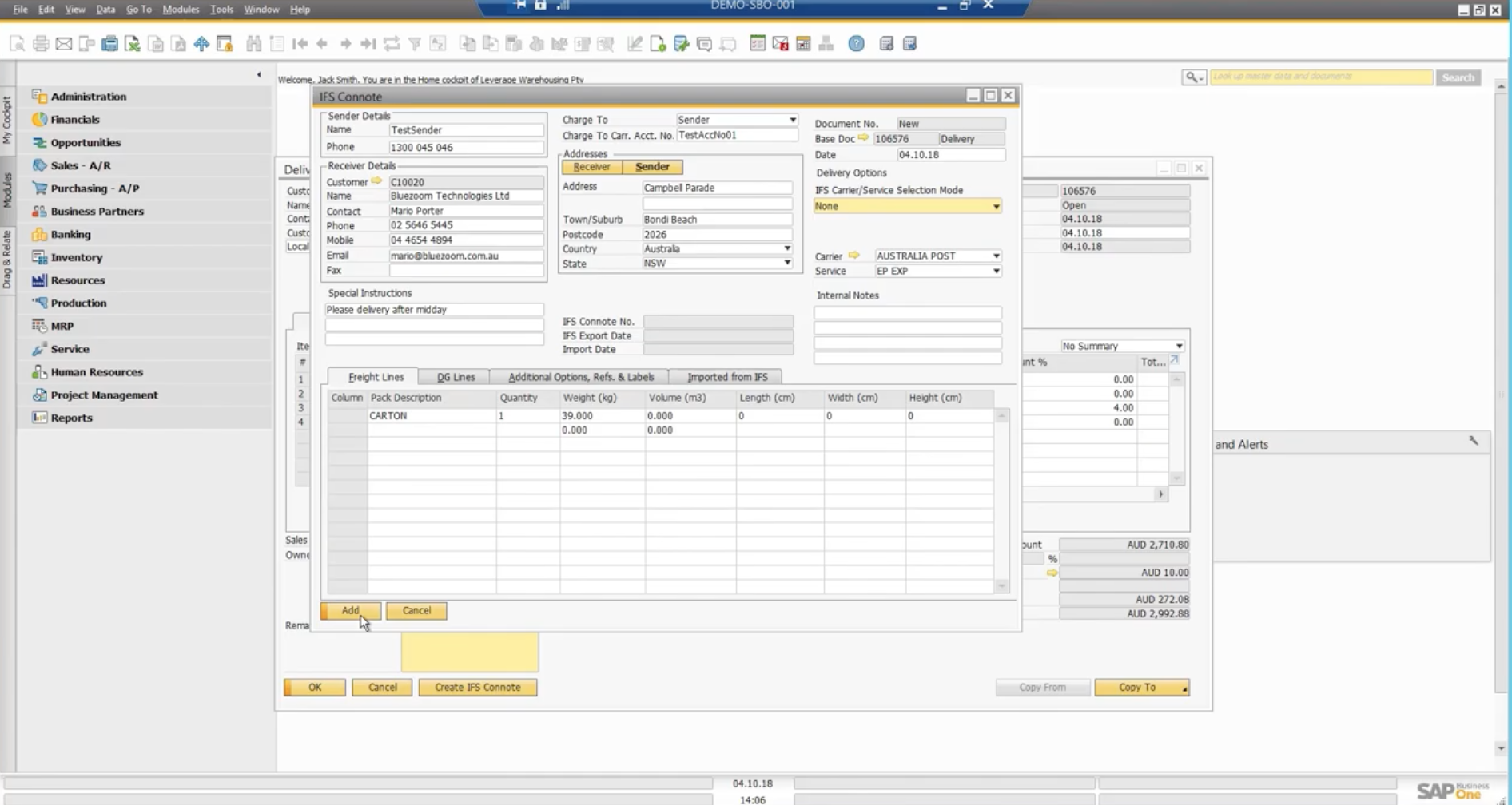 IFS Addon for SAP Business One